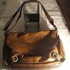 Fossil leather and fabric messenger saddle bag